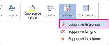 Image d'une partie du menu contextuel qui s'ouvre lorsque vous sélectionnez le contenu d'une cellule de tableau dans Word Web App, avec l'option Supprimer le tableau en surbrillance.