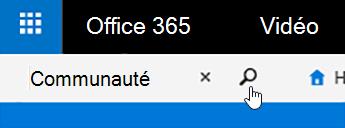 Zone de recherche vidéo Office 365