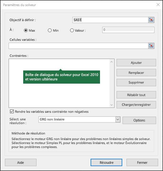 Image de la boîte de dialogue Excel 2010 + du solveur