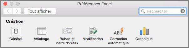 Office2016 for Mac Préférences de la barre d'outils du ruban