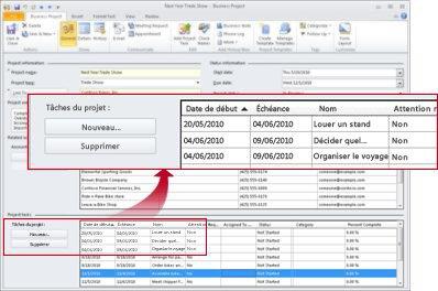 Enregistrement Projet commercial affichant la section Tâches du projet