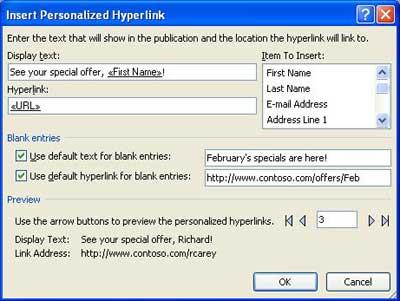 Image de la boîte de dialogue Insérer un lien hypertexte personnalisé