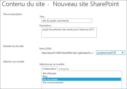 Écran de la création de sous-site 2016 SharePoint