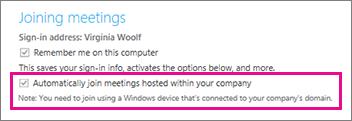 Options générales pour l'utilisateur authentifié si l'option «Mémoriser mon adresse sur cet ordinateur» est activée