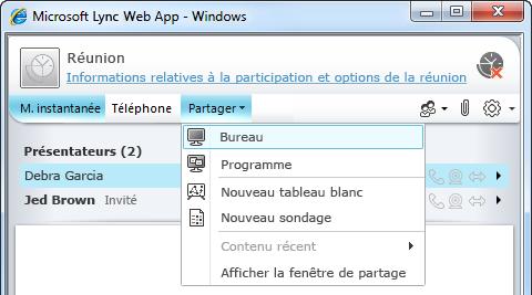 Menu Partager Lync Web App