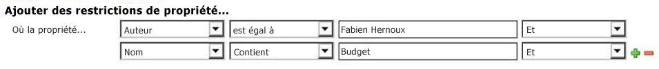 Sélectionnez des propriétés et des opérateurs dans les options déroulantes