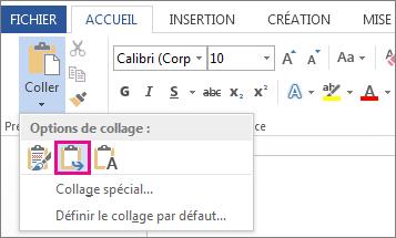 Option Fusionner la mise en forme de la commande Coller