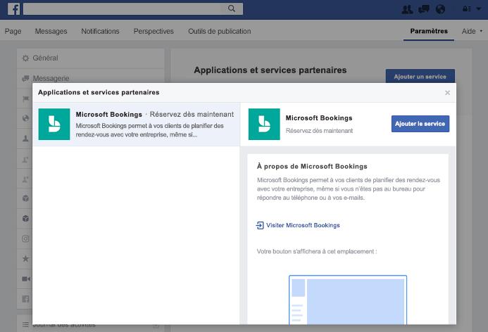 Capture d'écran montrant l'ajout d'un service au volet partenaire applications et Services.