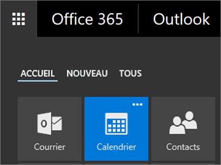 Capture d'écran de la vignette Calendrier du Lanceur d'applications Office365.