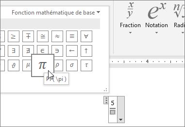 Choisir un caractère spécial (Pi) comme espace réservé dans une structure d'équation