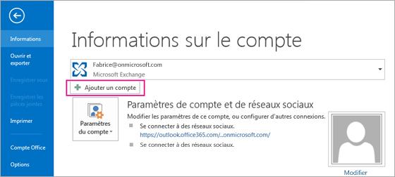 Pour ajouter un compte Gmail dans Outlook, cliquez sur le bouton Ajouter un compte.