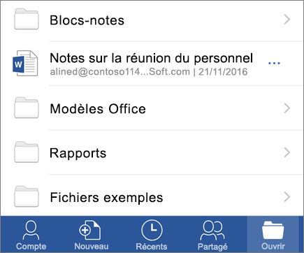 Ouvrir des documents dans l'application mobile Word pour iOS