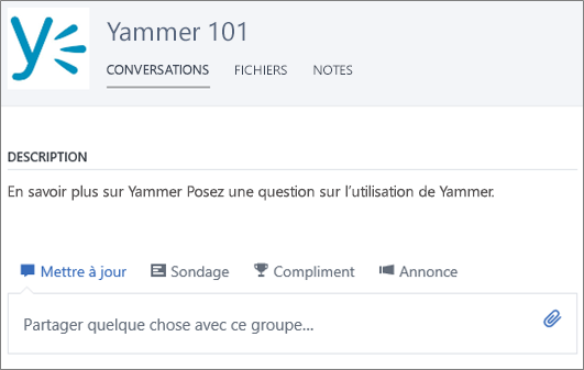 Exemple de groupe Yammer 101