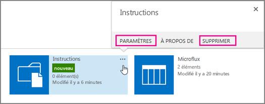 Pour renommer ou supprimer une bibliothèque de documents, cliquez sur les points de suspension.