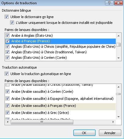 Boîte de dialogue Options de traduction
