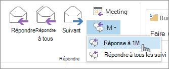 Répondre groupe avec la messagerie instantanée liste déroulante ouverte et répondre avec la messagerie instantanée en surbrillance