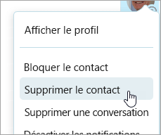 Capture d'écran de l'option de contact supprimer dans le menu contextuel contacts Skype