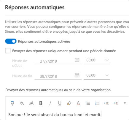 Création d'un réponse d'absence du bureau dans Outlook sur le web
