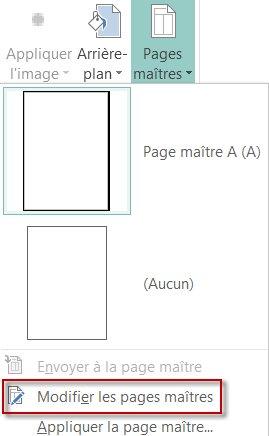 Modifier vos pages maîtres dans Publisher2013.