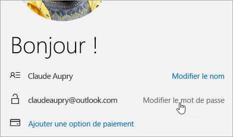 Capture d'écran du bouton Modifier le mot de passe.