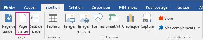 L'icône Page vierge est mise en évidence sous l'onglet Insertion