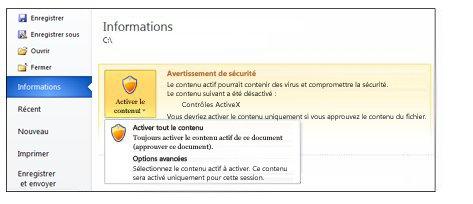 Avertissement de sécurité, rendre un document approuvé