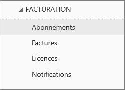 Capture d'écran du menu Facturation dans le Centre d'administration Office365 avec l'option Abonnements sélectionnée.