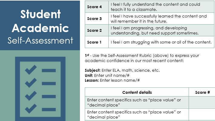 Capture d'écran d'un modèle de formulaire d'auto-évaluation