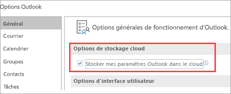 Afficher les options de paramètres d'Outlook