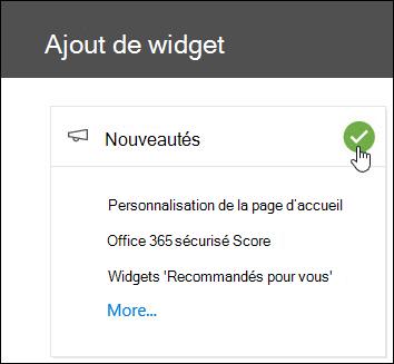 Capture d'écran de la fenêtre Ajouter un Widget mobile dans le centre de conformité & sécurité