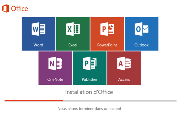 Fenêtre montrant la progression de l'installation d'Office