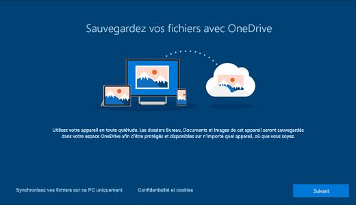 Capture d'écran de la page OneDrive qui apparaît lorsque vous utilisez Windows10 pour la première fois