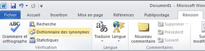 Onglet Révision du ruban Word dictionnaire des synonymes