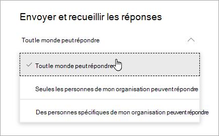 Options de partage pour Microsoft Forms