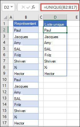 Fonction UNIQUE utilisée pour trier une liste de noms