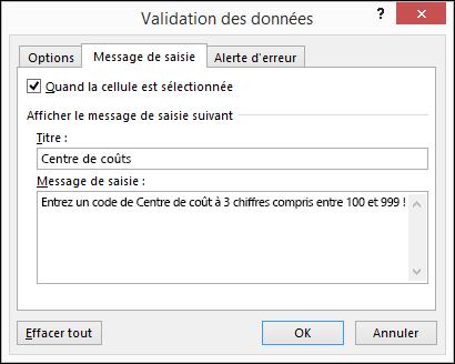 Paramètres de message de saisie dans la boîte de dialogue Validation des données