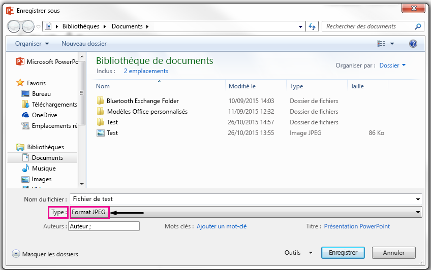 Dans la boîte de dialogue Enregistrer sous, identifier le type de fichier à votre diapositive enregistré en tant que.