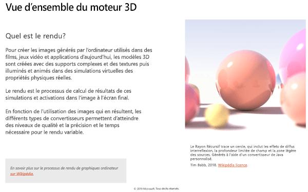 Capture d'écran de la section vue d'ensemble du moteur 3D des recommandations en matière de contenu 3D