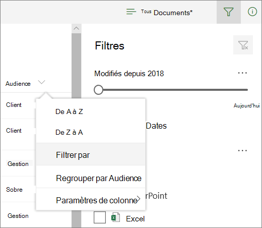 Cliquez sur Filtrer par pour ouvrir le panneau de filtre