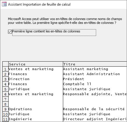 Importation de données à partir d'Excel