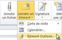 Commande Joindre un élément Outlook dans le ruban