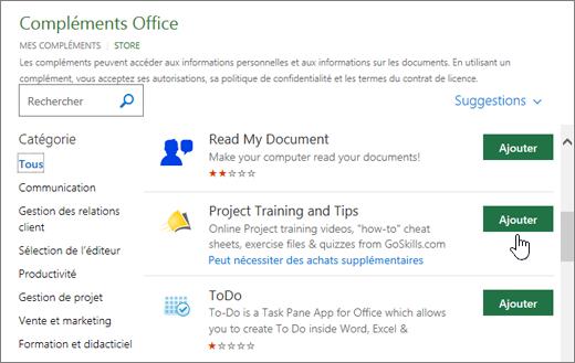 Capture d'écran de la page des compléments Office dans le magasin dans lequel vous pouvez sélectionner ou rechercher un complément pour Project.