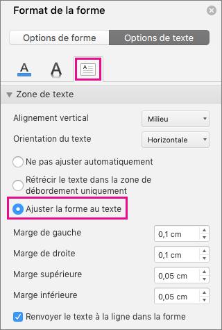 L'option Ajuster le texte à la forme est mise en évidence dans le volet Format de la forme.
