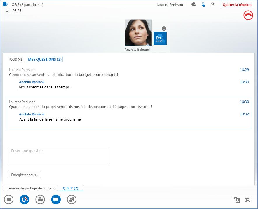 Capture d'écran de Questions/Réponses