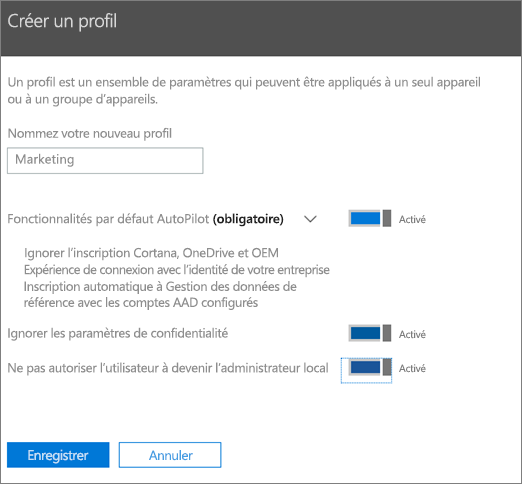 Entrez le nom et activez les paramètres dans le volet Créer un profil.