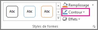 Commande Contour de forme sous l'onglet Format des Outils de dessin