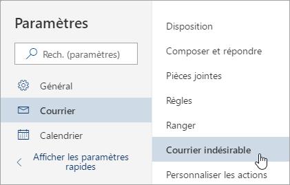 Capture d'écran du menu Paramètres avec courrier indésirable sélectionné