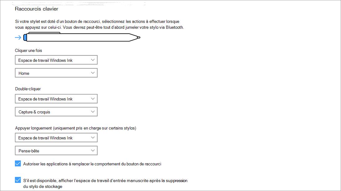 Paramètres de raccourcis du stylet dans Démarrer > Paramètres > Appareils > Stylet et WindowsInk.
