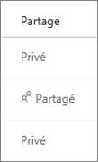 Affichage de l'état de partage dans OneDrive Entreprise