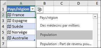 Ajouter une colonne pour ajouter un enregistrement Population